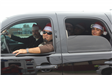 Men in Truck with Santa Hats
