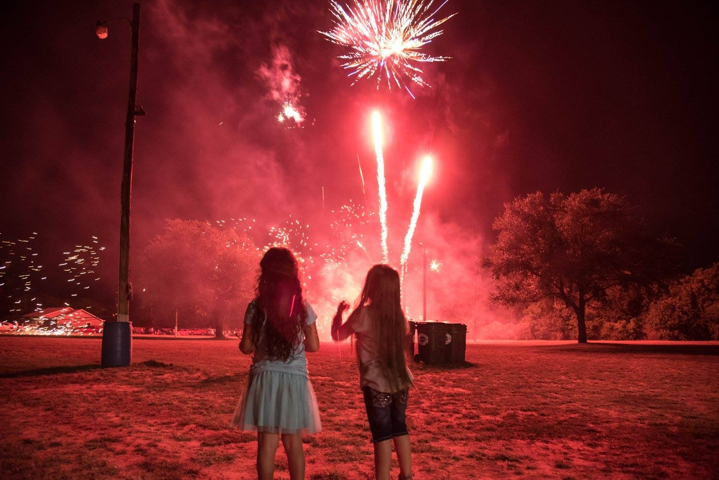 Event 2 Fireworks With Girls Silhouette