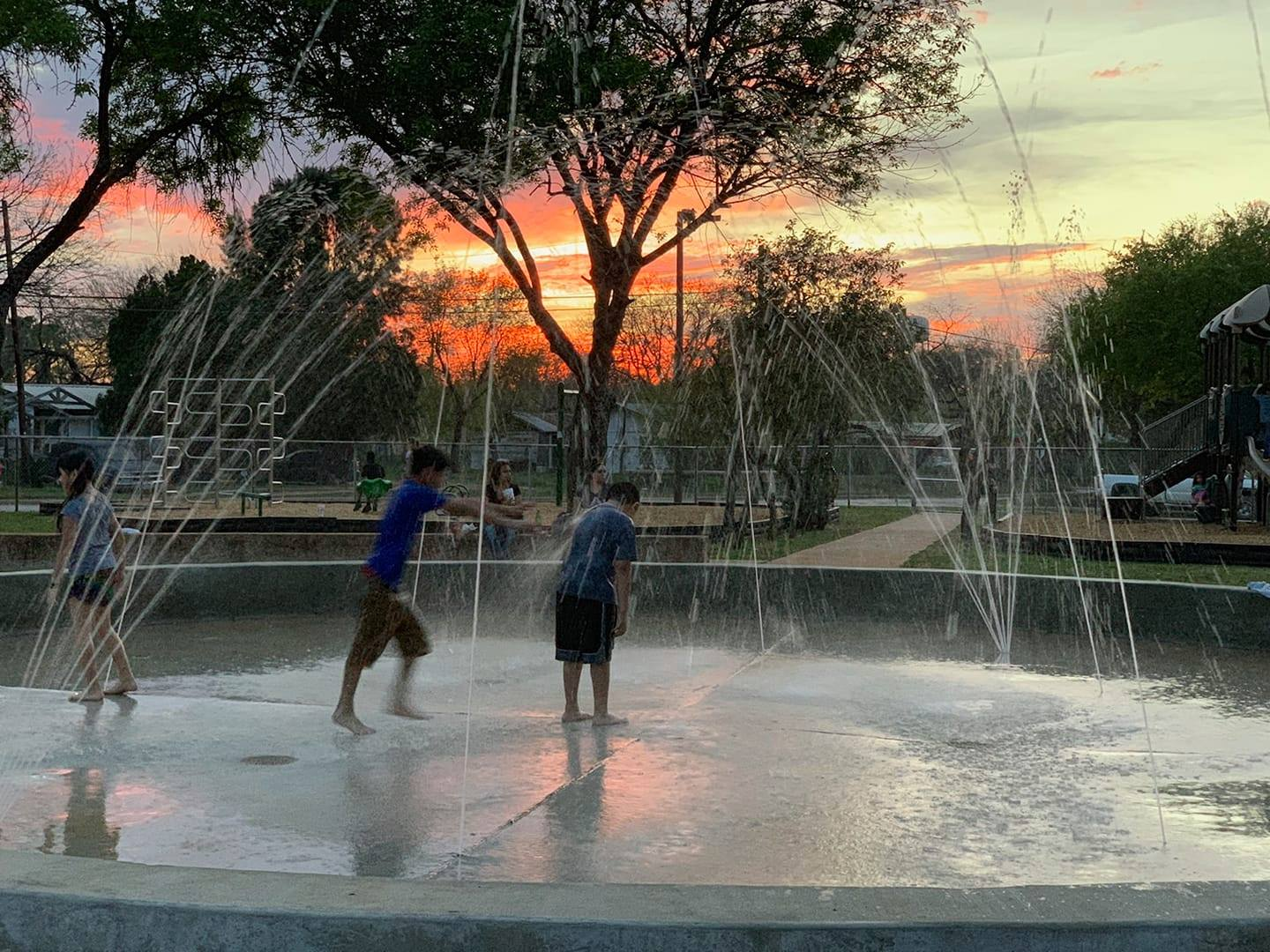 sunset splash pad
