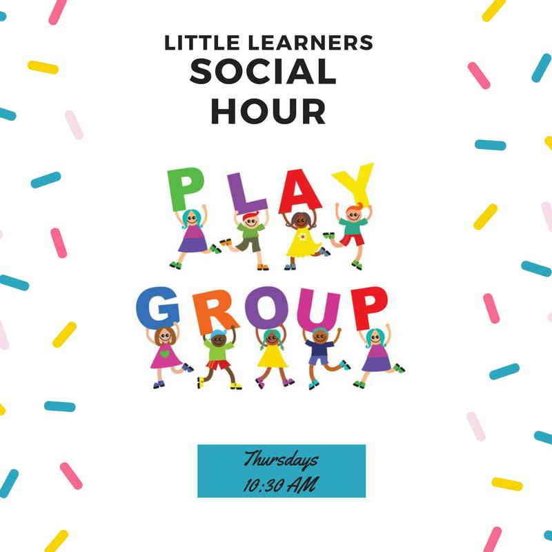 A promotional image for Little Learners Social Hour.