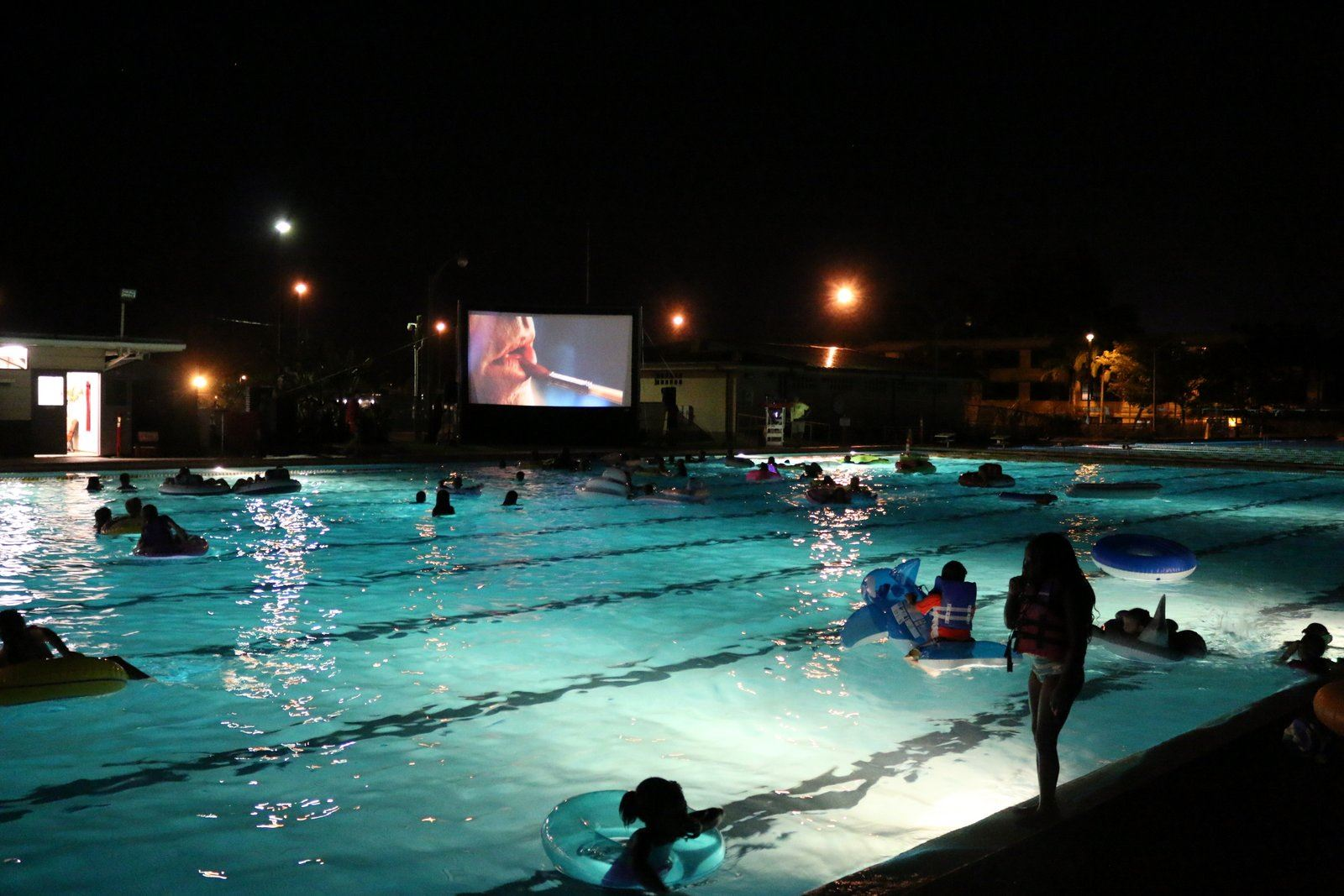 Movie night at pool
